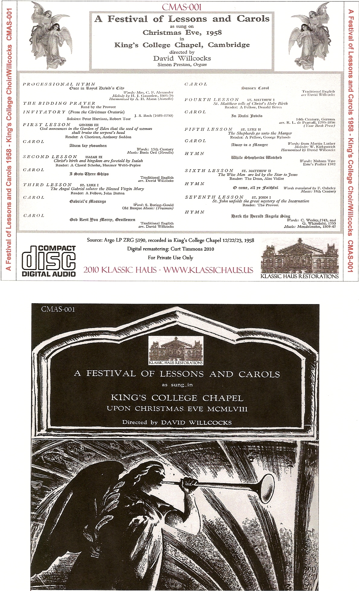 Festival of Lessons and Carols 1958 from King\'s College Choir a Best ...